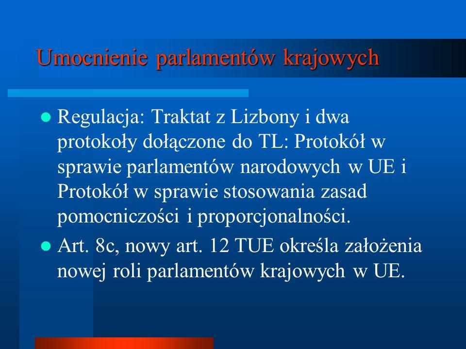Umocnienie parlamentów krajowych Regulacja: Traktat z Lizbony i dwa protokoły dołączone do TL: Protokół w sprawie parlamentów narodowych w UE i Protok