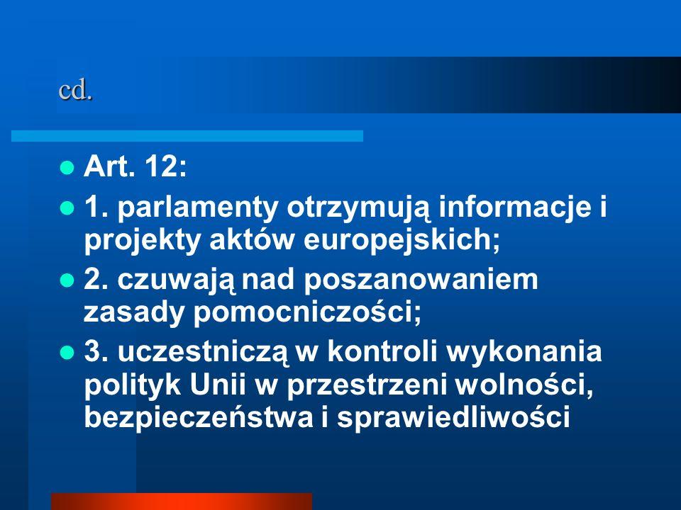 cd. Art. 12: 1. parlamenty otrzymują informacje i projekty aktów europejskich; 2. czuwają nad poszanowaniem zasady pomocniczości; 3. uczestniczą w kon