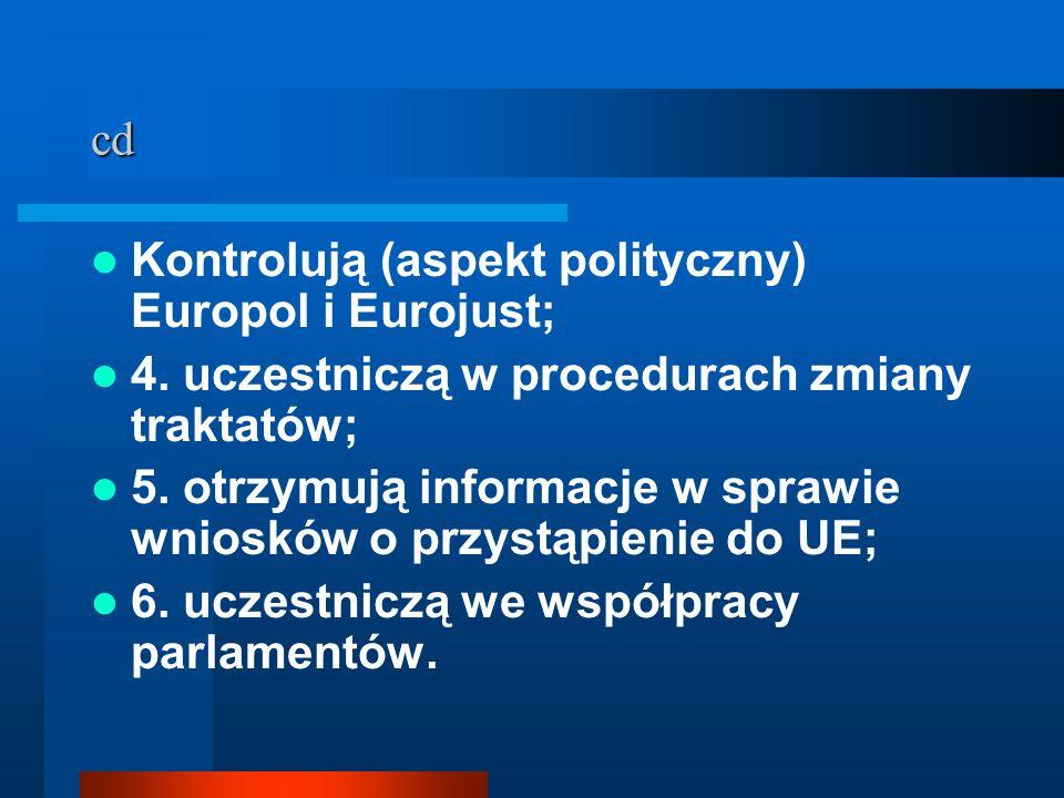 cd Kontrolują (aspekt polityczny) Europol i Eurojust; 4. uczestniczą w procedurach zmiany traktatów; 5. otrzymują informacje w sprawie wniosków o przy