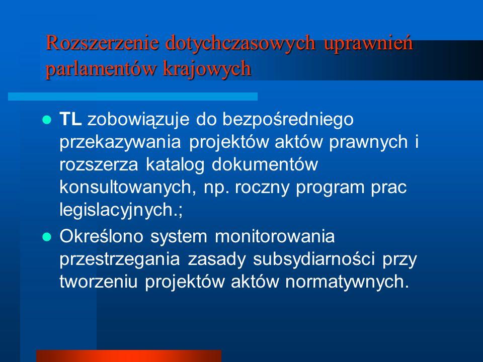 Rozszerzenie dotychczasowych uprawnień parlamentów krajowych TL zobowiązuje do bezpośredniego przekazywania projektów aktów prawnych i rozszerza katal