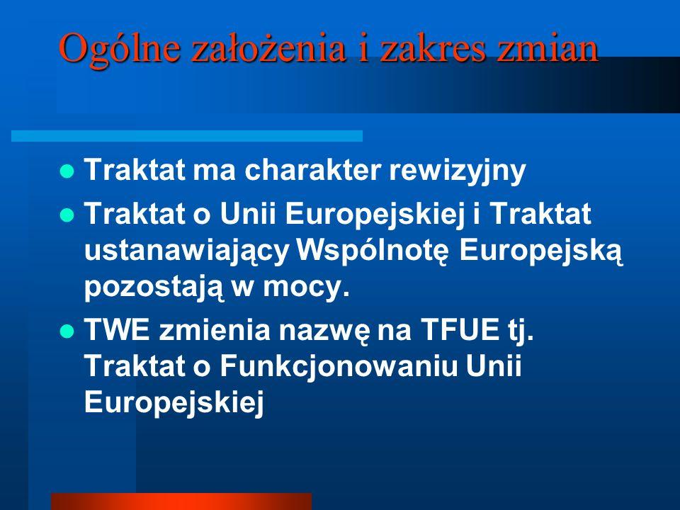 Ogólne założenia i zakres zmian Traktat ma charakter rewizyjny Traktat o Unii Europejskiej i Traktat ustanawiający Wspólnotę Europejską pozostają w mo