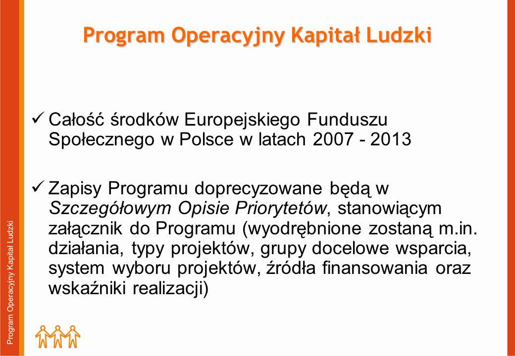 Całość środków Europejskiego Funduszu Społecznego w Polsce w latach 2007 - 2013 Zapisy Programu doprecyzowane będą w Szczegółowym Opisie Priorytetów, stanowiącym załącznik do Programu (wyodrębnione zostaną m.in.