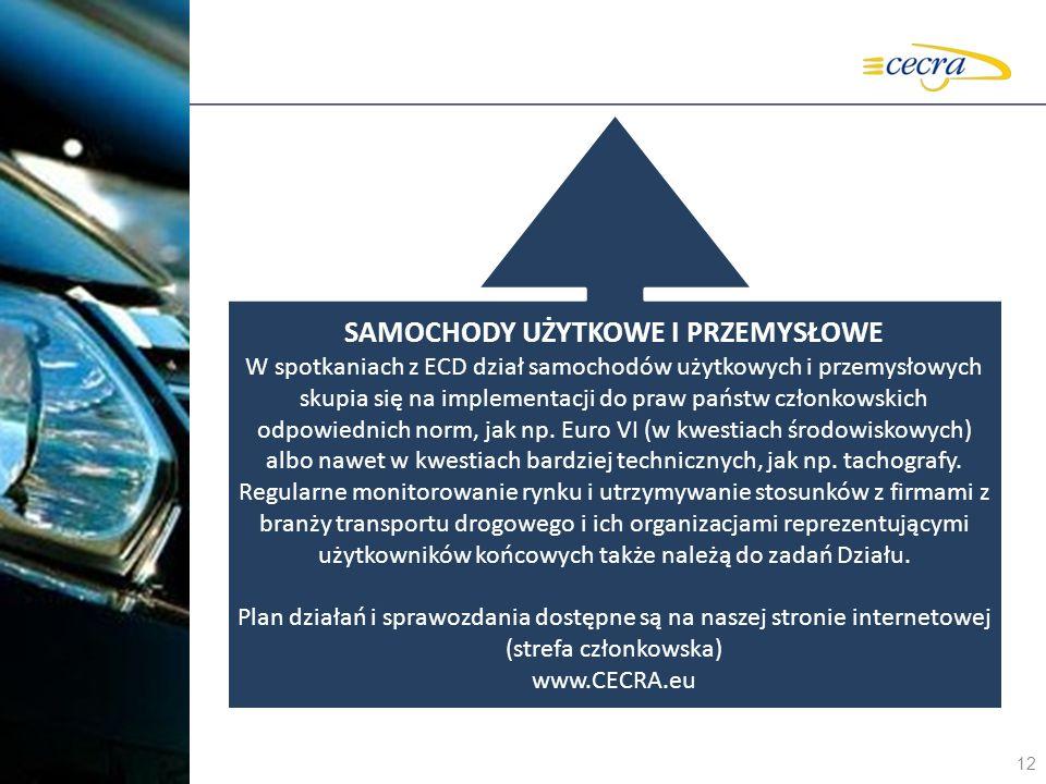 12 SAMOCHODY UŻYTKOWE I PRZEMYSŁOWE W spotkaniach z ECD dział samochodów użytkowych i przemysłowych skupia się na implementacji do praw państw członko