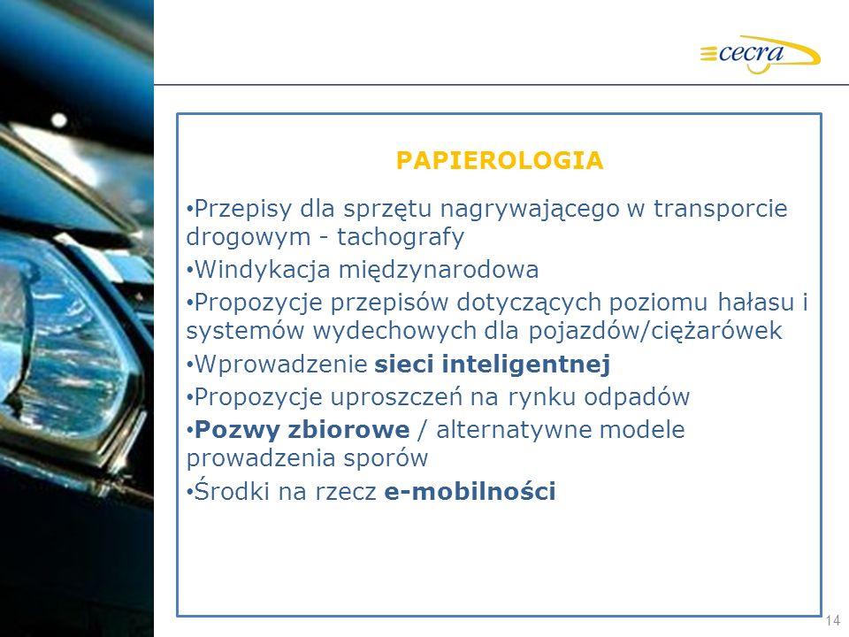 14 PAPIEROLOGIA Przepisy dla sprzętu nagrywającego w transporcie drogowym - tachografy Windykacja międzynarodowa Propozycje przepisów dotyczących pozi