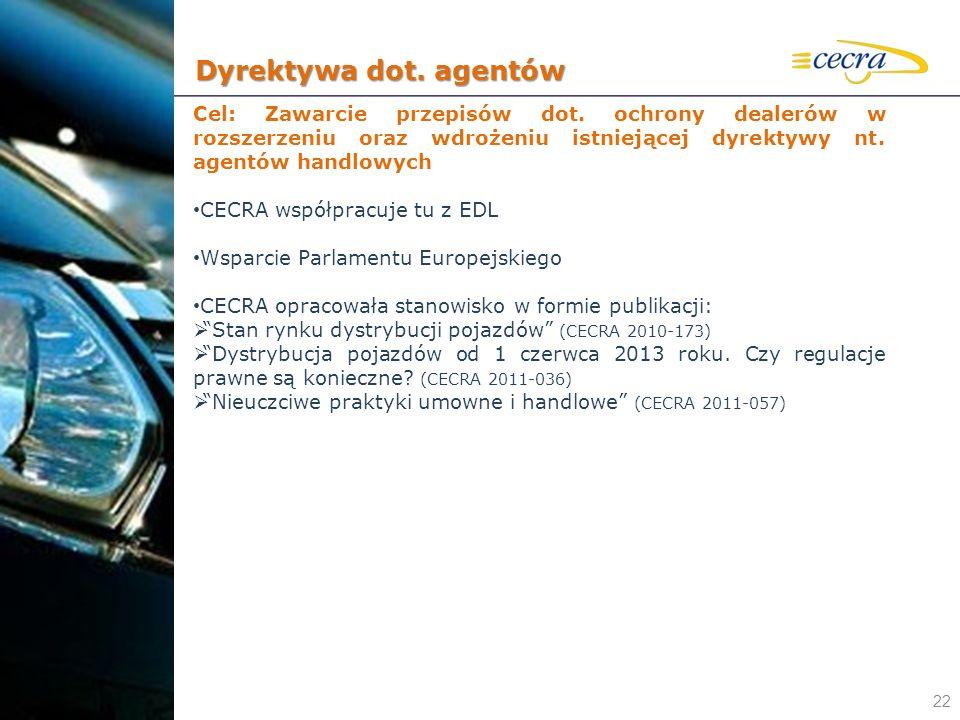 22 Cel: Zawarcie przepisów dot. ochrony dealerów w rozszerzeniu oraz wdrożeniu istniejącej dyrektywy nt. agentów handlowych CECRA współpracuje tu z ED