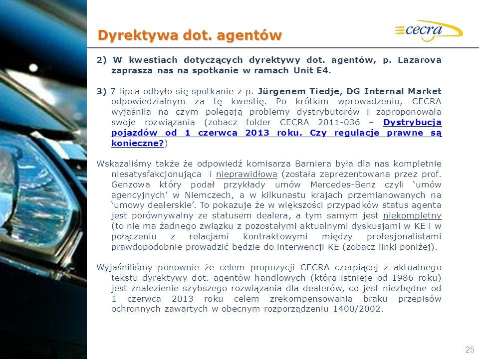 25 2) W kwestiach dotyczących dyrektywy dot. agentów, p. Lazarova zaprasza nas na spotkanie w ramach Unit E4. 3) 7 lipca odbyło się spotkanie z p. Jür