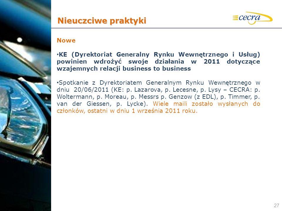 27 Nowe KE (Dyrektoriat Generalny Rynku Wewnętrznego i Usług) powinien wdrożyć swoje działania w 2011 dotyczące wzajemnych relacji business to busines