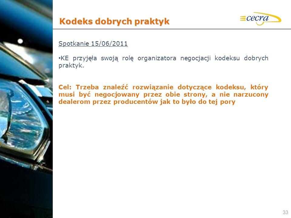 33 Spotkanie 15/06/2011 KE przyjęła swoją rolę organizatora negocjacji kodeksu dobrych praktyk. Cel: Trzeba znaleźć rozwiązanie dotyczące kodeksu, któ