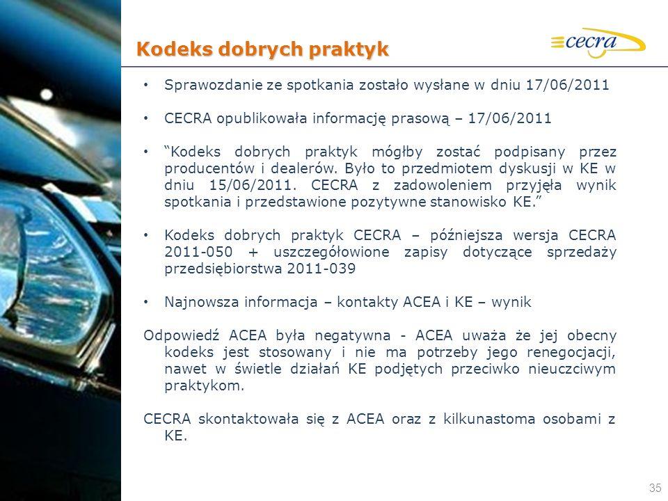 35 Sprawozdanie ze spotkania zostało wysłane w dniu 17/06/2011 CECRA opublikowała informację prasową – 17/06/2011 Kodeks dobrych praktyk mógłby zostać
