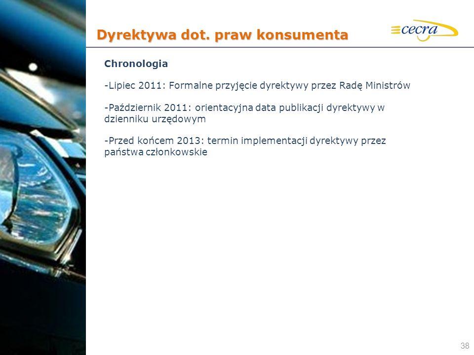 38 Chronologia -Lipiec 2011: Formalne przyjęcie dyrektywy przez Radę Ministrów -Październik 2011: orientacyjna data publikacji dyrektywy w dzienniku u