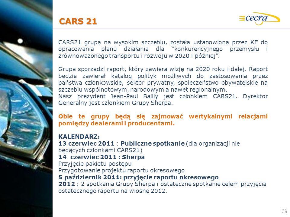 39 CARS21 grupa na wysokim szczeblu, została ustanowiona przez KE do opracowania planu działania dla konkurencyjnego przemysłu i zrównoważonego transp