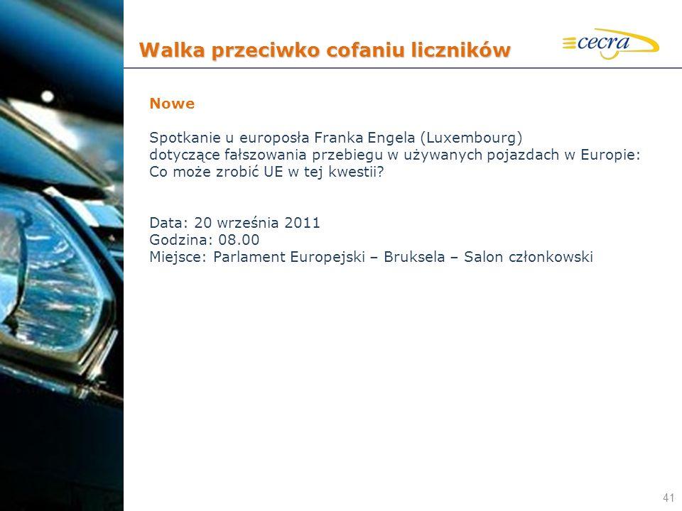 41 Nowe Spotkanie u europosła Franka Engela (Luxembourg) dotyczące fałszowania przebiegu w używanych pojazdach w Europie: Co może zrobić UE w tej kwes