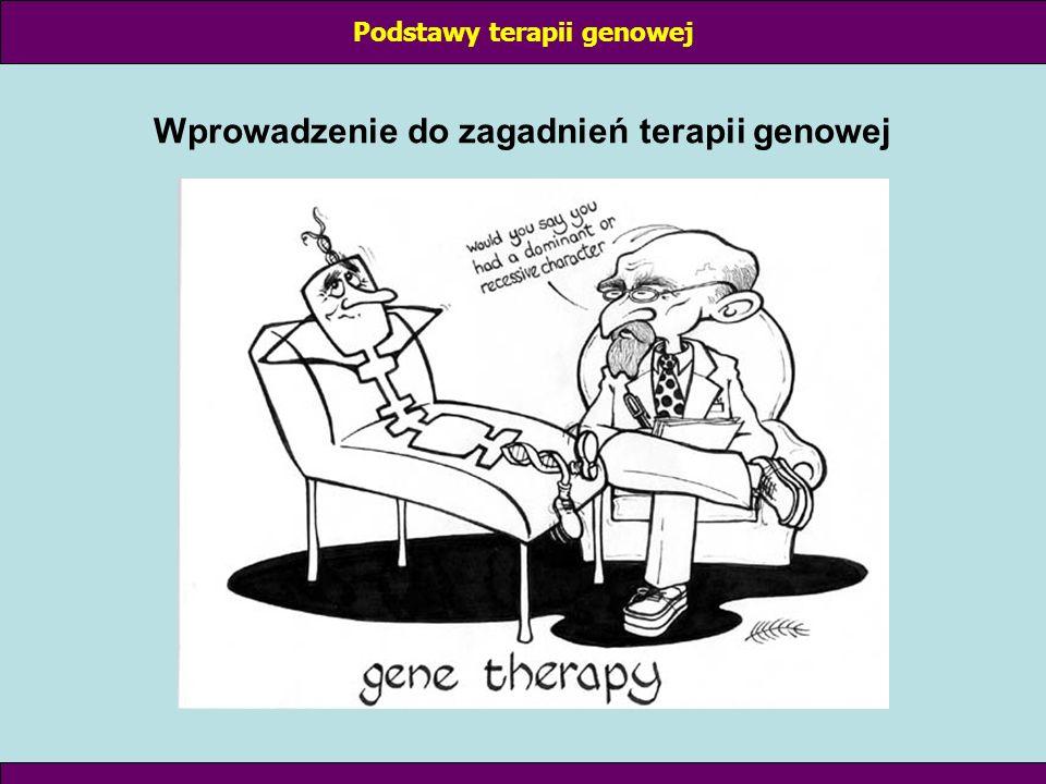 STRATEGIE TERAPII GENOWEJ: I Komplementacja defektu genetycznego polega na łagodzeniu skutków biologicznych defektu genetycznego przez wprowadzenie prawidłowego genu (nie usuwa defektu) Przykład: mutacja punktowa w ORF genu β-globiny prowadzi do anemi sierpowatej (zamiana 1 aminokwasu – tetramery α i β-globiny tworzą strąty); wprowadzenie prawidłowego genu β-globiny do komórek macierzystych erytrocytów wytwarzanie normalnych erytrocytów Podstawy terapii genowej