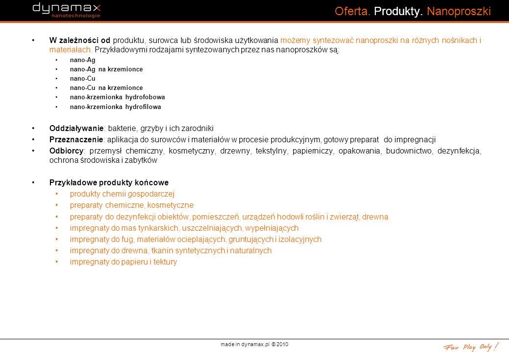 made in dynamax.pl © 2010 Oferta. Produkty. Nanoproszki W zależności od produktu, surowca lub środowiska użytkowania możemy syntezować nanoproszki na