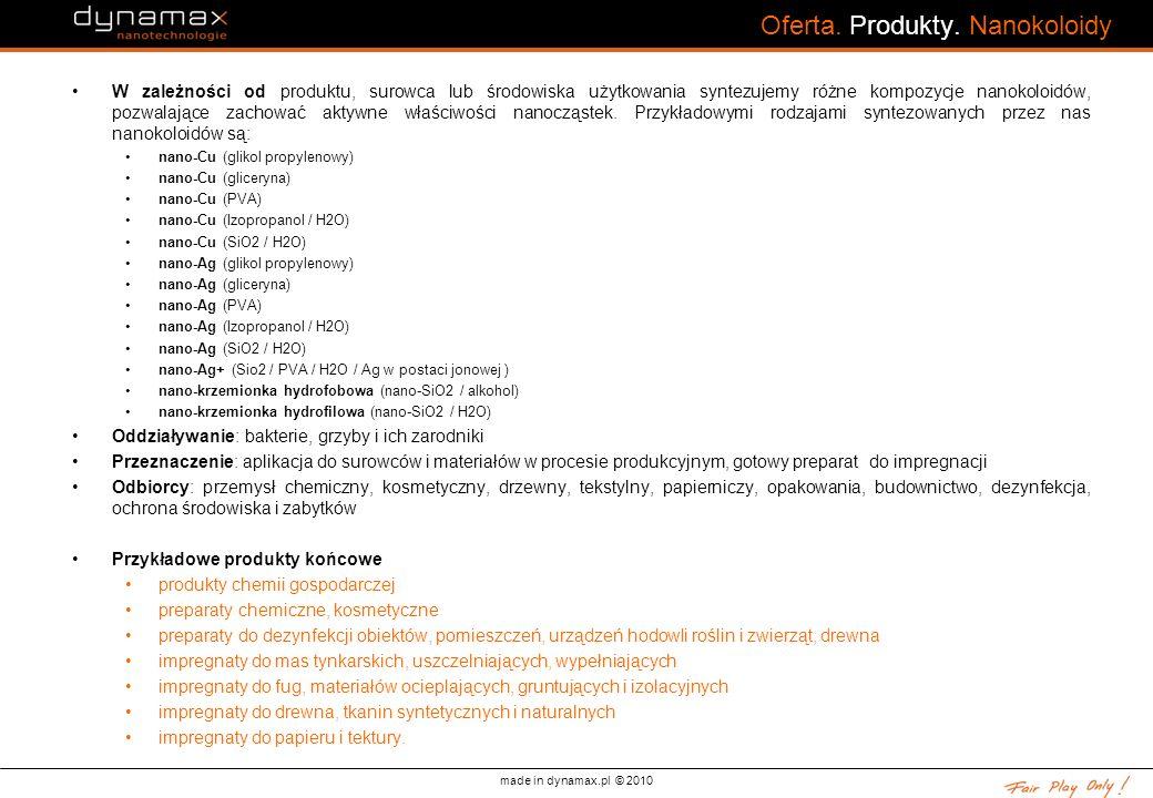 made in dynamax.pl © 2010 Oferta. Produkty. Nanokoloidy W zależności od produktu, surowca lub środowiska użytkowania syntezujemy różne kompozycje nano