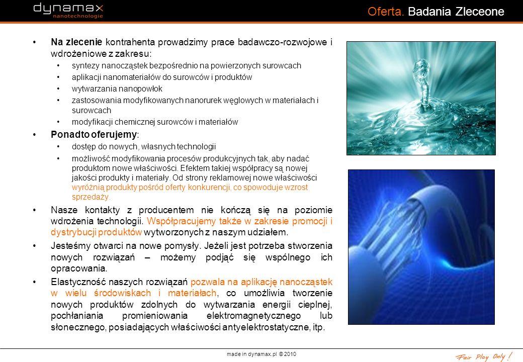 made in dynamax.pl © 2010 Oferta. Badania Zleceone Na zlecenie kontrahenta prowadzimy prace badawczo-rozwojowe i wdrożeniowe z zakresu: syntezy nanocz