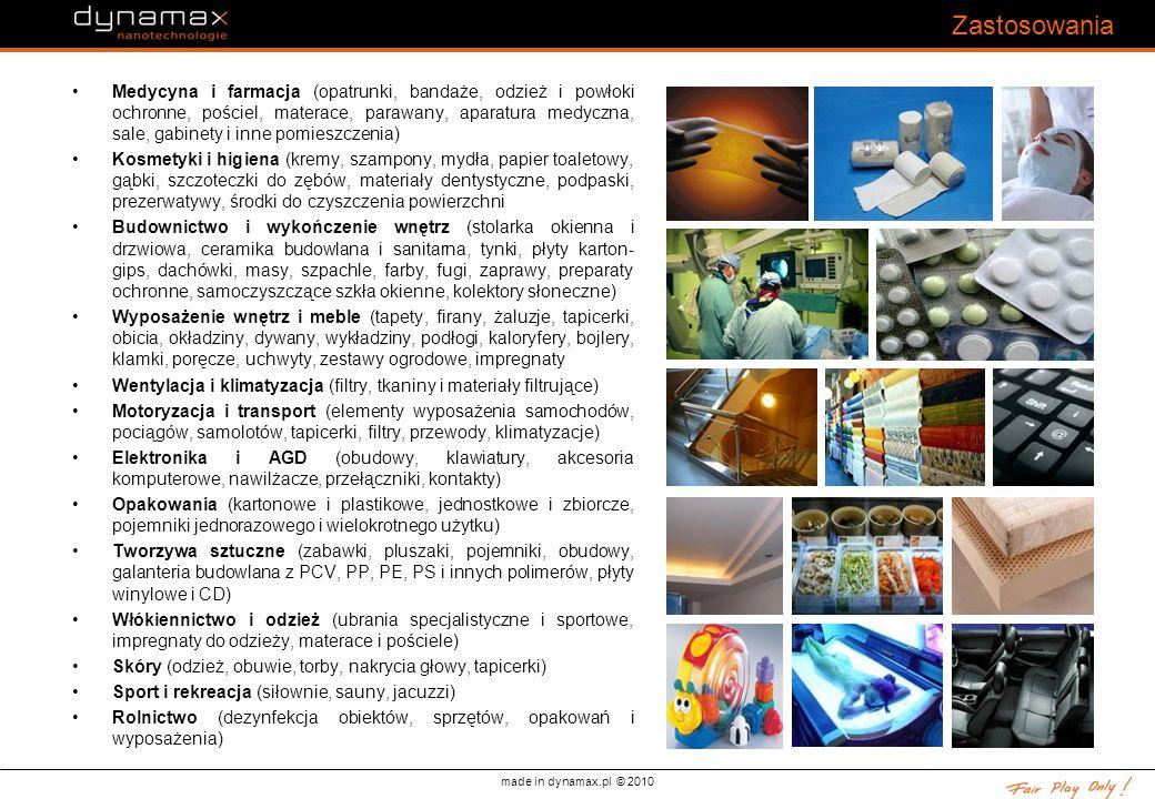 made in dynamax.pl © 2010 Zastosowania Medycyna i farmacja (opatrunki, bandaże, odzież i powłoki ochronne, pościel, materace, parawany, aparatura medy
