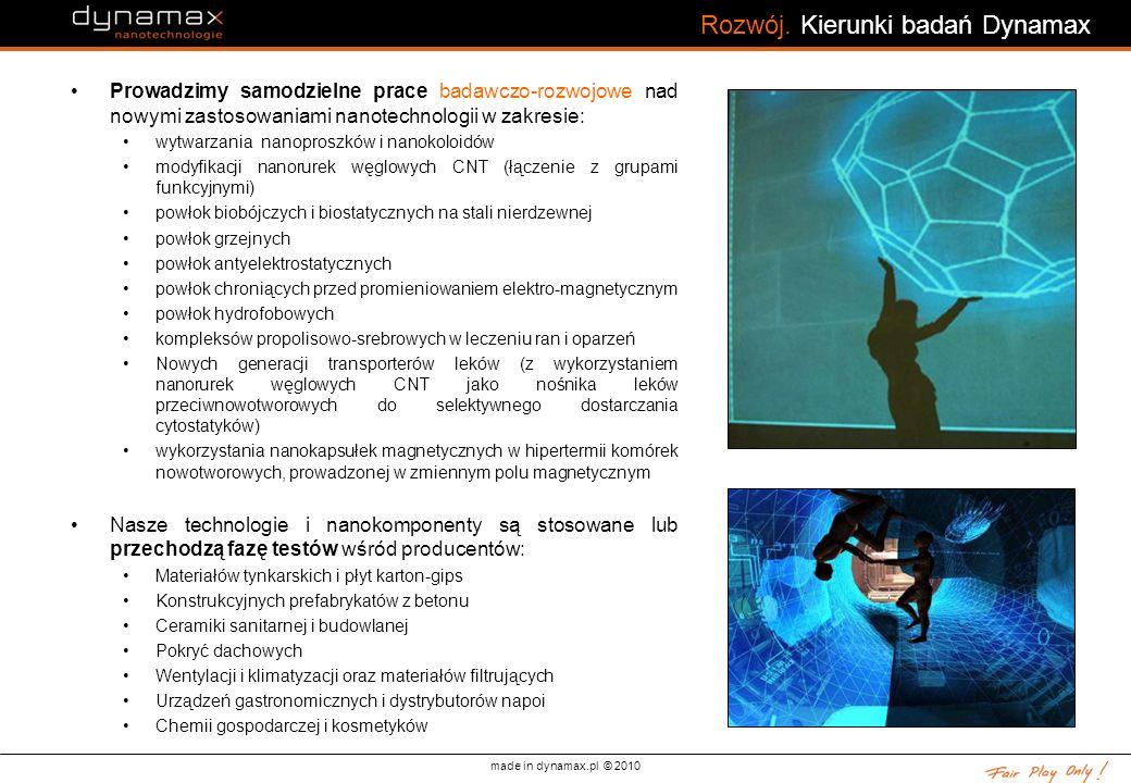 made in dynamax.pl © 2010 Rozwój. Kierunki badań Dynamax Prowadzimy samodzielne prace badawczo-rozwojowe nad nowymi zastosowaniami nanotechnologii w z