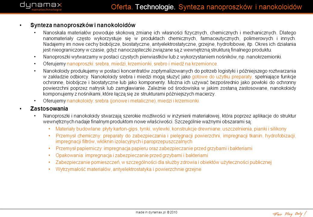 made in dynamax.pl © 2010 Oferta. Technologie. Synteza nanoproszków i nanokoloidów Synteza nanoproszków i nanokoloidów Nanoskala materiałów powoduje s