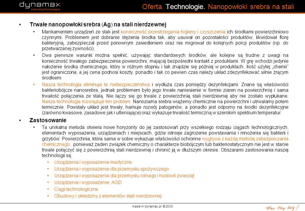 made in dynamax.pl © 2010 Oferta. Technologie. Nanopowłoki srebra na stali Trwałe nanopowłoki srebra (Ag) na stali nierdzewnej Mankamentem urządzeń ze