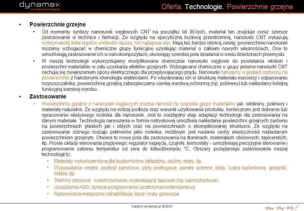 made in dynamax.pl © 2010 Oferta. Technologie. Powierzchnie grzejne Powierzchnie grzejne Od momentu syntezy nanorurek węglowych CNT na początku lat 90