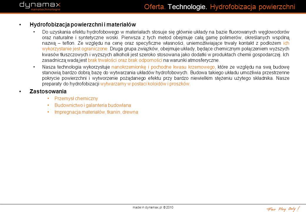 made in dynamax.pl © 2010 Oferta. Technologie. Hydrofobizacja powierzchni Hydrofobizacja powierzchni i materiałów Do uzyskania efektu hydrofobowego w