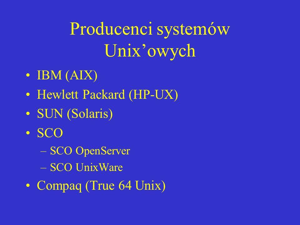 Producenci systemów Unixowych IBM (AIX) Hewlett Packard (HP-UX) SUN (Solaris) SCO –SCO OpenServer –SCO UnixWare Compaq (True 64 Unix)