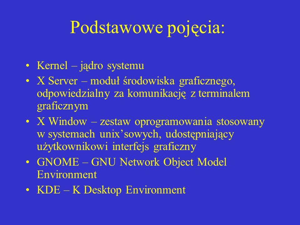 Podstawowe pojęcia: Kernel – jądro systemu X Server – moduł środowiska graficznego, odpowiedzialny za komunikację z terminalem graficznym X Window – z