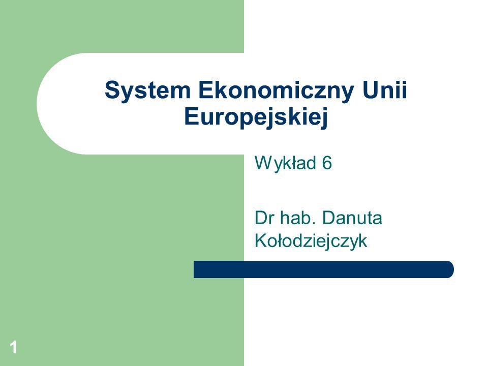 1 System Ekonomiczny Unii Europejskiej Wykład 6 Dr hab. Danuta Kołodziejczyk