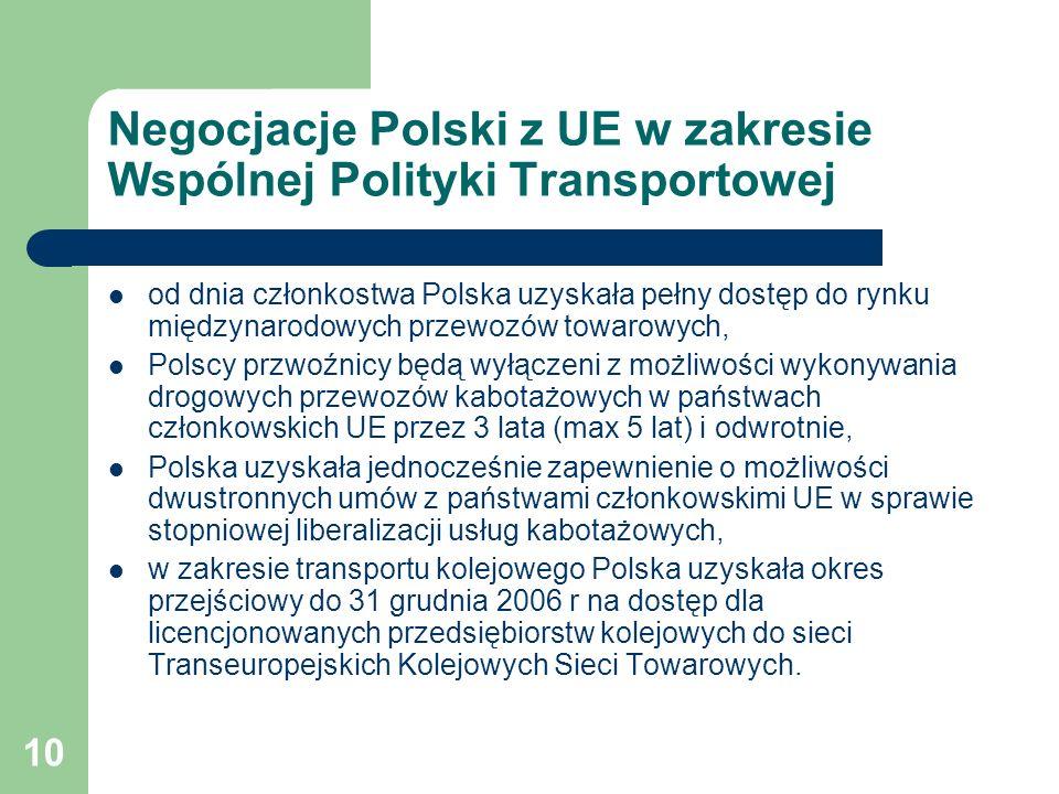 10 Negocjacje Polski z UE w zakresie Wspólnej Polityki Transportowej od dnia członkostwa Polska uzyskała pełny dostęp do rynku międzynarodowych przewo