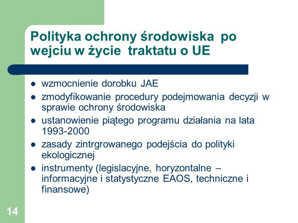 14 Polityka ochrony środowiska po wejciu w życie traktatu o UE wzmocnienie dorobku JAE zmodyfikowanie procedury podejmowania decyzji w sprawie ochrony