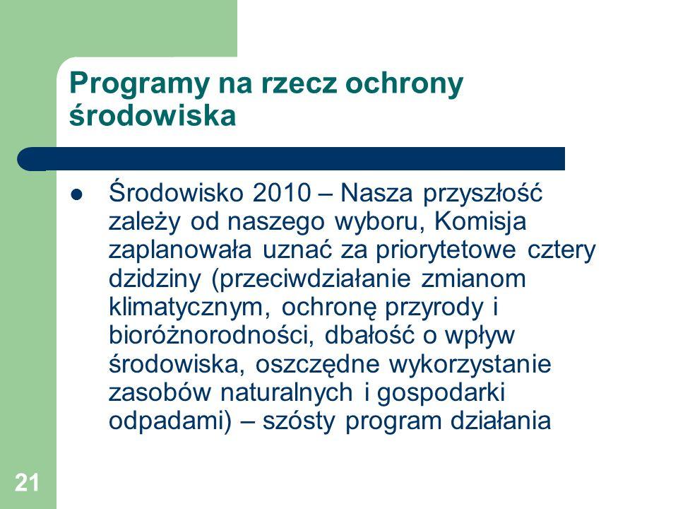 21 Programy na rzecz ochrony środowiska Środowisko 2010 – Nasza przyszłość zależy od naszego wyboru, Komisja zaplanowała uznać za priorytetowe cztery
