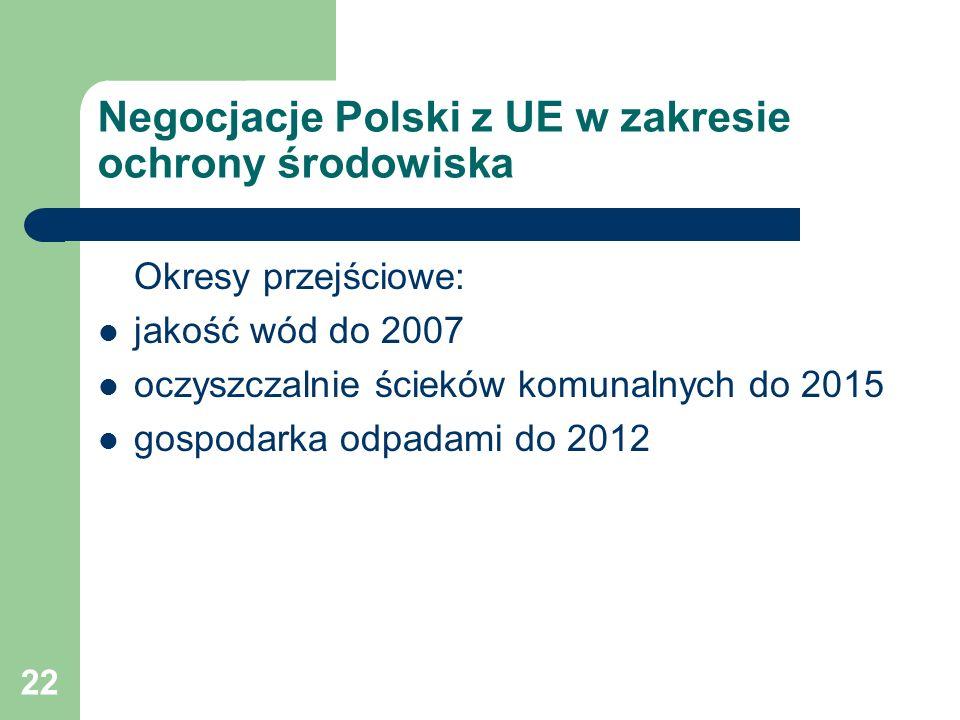 22 Negocjacje Polski z UE w zakresie ochrony środowiska Okresy przejściowe: jakość wód do 2007 oczyszczalnie ścieków komunalnych do 2015 gospodarka od