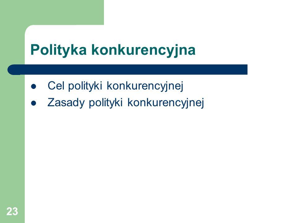 23 Polityka konkurencyjna Cel polityki konkurencyjnej Zasady polityki konkurencyjnej