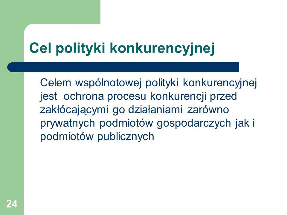 24 Cel polityki konkurencyjnej Celem wspólnotowej polityki konkurencyjnej jest ochrona procesu konkurencji przed zakłócającymi go działaniami zarówno