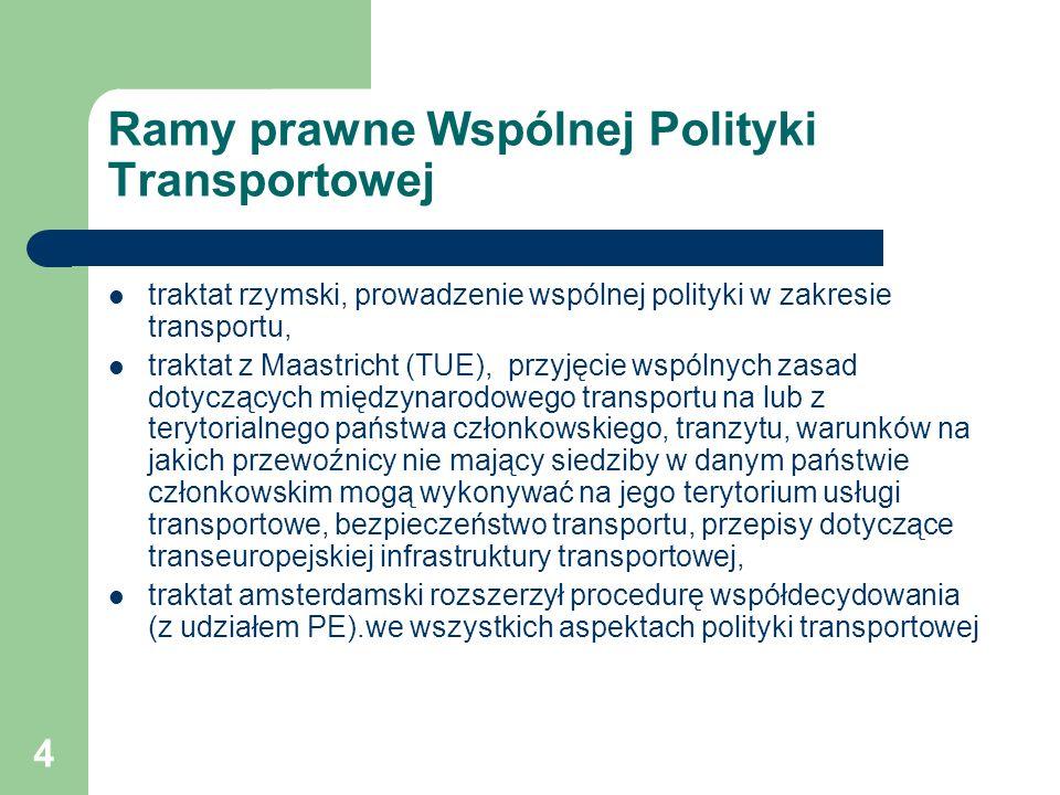 5 Główne kierunki Wspólnej Polityki Transportowej Wyeliminowanie wszelkich możliwości dyskryminacji przewoźników w zależności od kraju ich siedziby poprzez: opracowanie wspólnych umożliwiających przedsiębiorstwom z jednego państwa członkowskiego świadczenia międzynarodowych usług transportowych na terenie innego państwa członkowskiego (licencje wspólnotowe), stworzenie regulacji zapewniających swobodę i uczciwą konkurencję, w tym ustanowienie kryteriów i warunków udzielania pomocy przez państwo oraz zasad świadczenia usług publicznych przez przedsiębiorstwa transportowe.