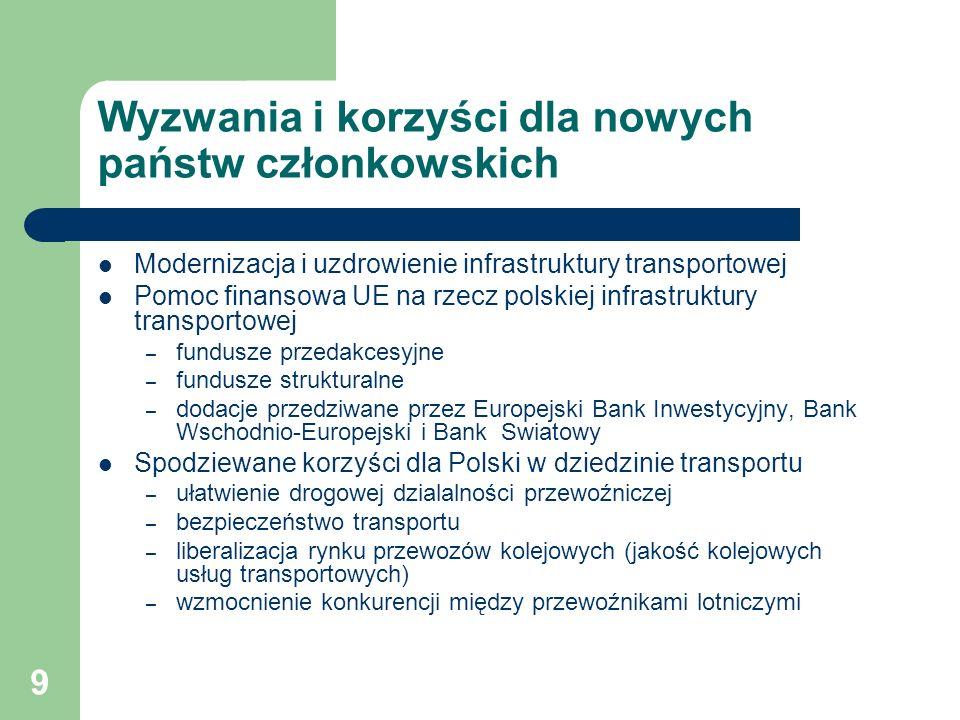 9 Wyzwania i korzyści dla nowych państw członkowskich Modernizacja i uzdrowienie infrastruktury transportowej Pomoc finansowa UE na rzecz polskiej inf