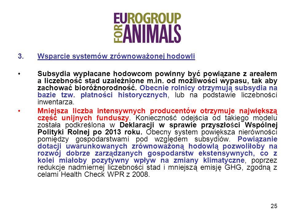 25 3.Wsparcie systemów zrównoważonej hodowli Subsydia wypłacane hodowcom powinny być powiązane z areałem a liczebność stad uzależnione m.in.