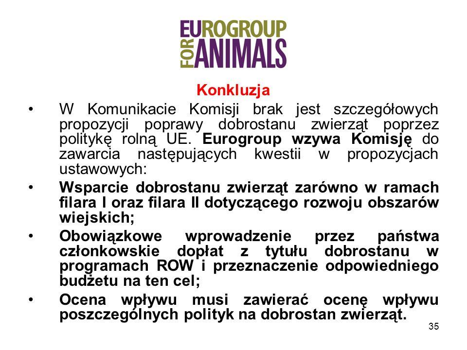 35 Konkluzja W Komunikacie Komisji brak jest szczegółowych propozycji poprawy dobrostanu zwierząt poprzez politykę rolną UE.