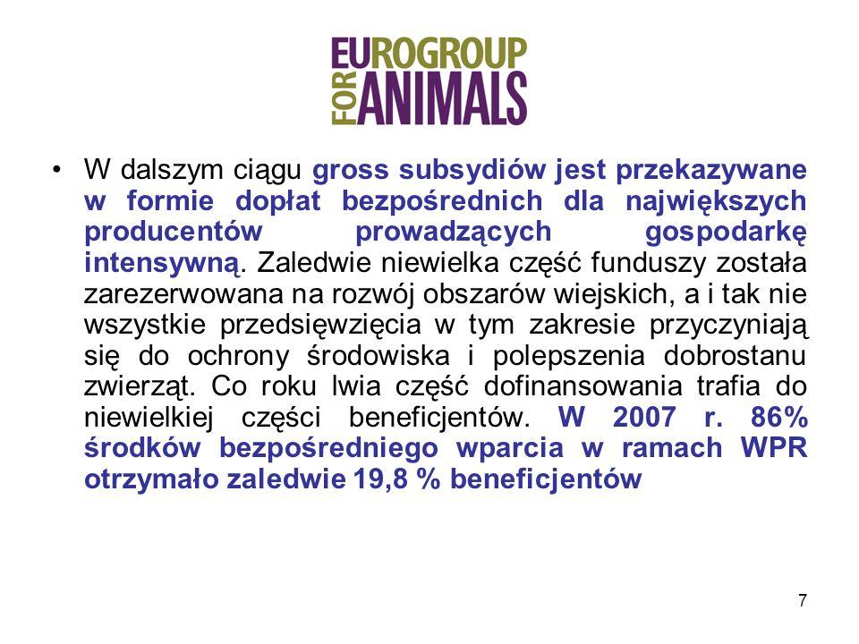 28 Komentarze Eurogroup: wezwanie do zmian na lepsze Eurogroup jest zawiedziona, że Komunikat nie zawiera konkretnych propozycji, jak Komisja zamierza poprawić dobrostan zwierząt poprzez WPR.