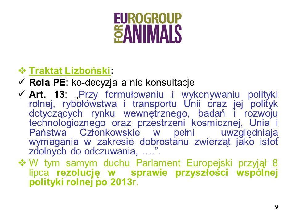 10 Nowa Strategia Zrównoważonego Rozwoju UE, 2006 : jednym z podstawowych zadań operacyjnych jest kontynuacja promocji wysokiego poziomu zdrowia i standardów dobrostanu zwierząt w UE i na szczeblu międzynarodowym.