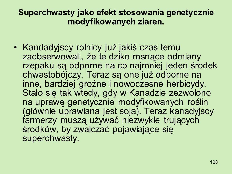 100 Superchwasty jako efekt stosowania genetycznie modyfikowanych ziaren. Kandadyjscy rolnicy już jakiś czas temu zaobserwowali, że te dziko rosnące o