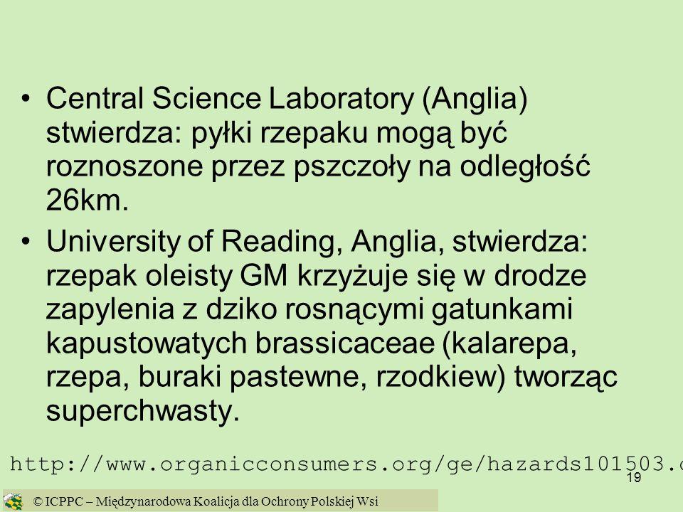 19 Central Science Laboratory (Anglia) stwierdza: pyłki rzepaku mogą być roznoszone przez pszczoły na odległość 26km. University of Reading, Anglia, s