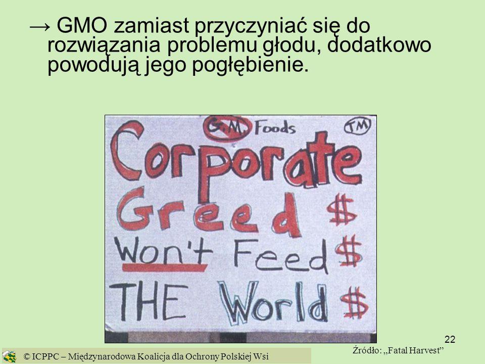 22 GMO zamiast przyczyniać się do rozwiązania problemu głodu, dodatkowo powodują jego pogłębienie. © ICPPC – Międzynarodowa Koalicja dla Ochrony Polsk