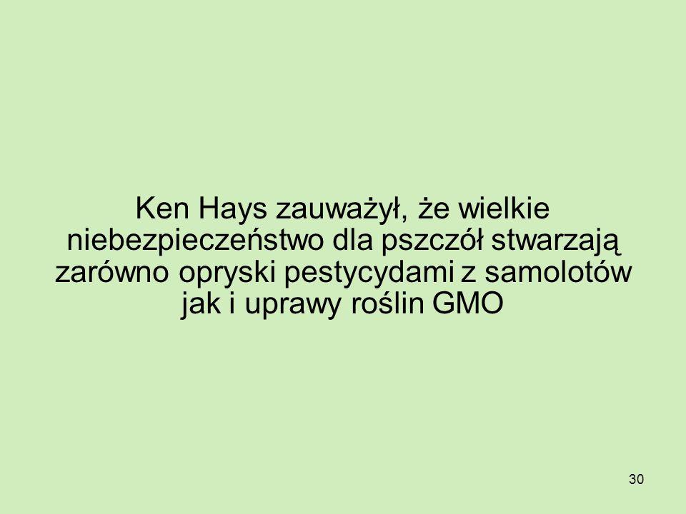 30 Ken Hays zauważył, że wielkie niebezpieczeństwo dla pszczół stwarzają zarówno opryski pestycydami z samolotów jak i uprawy roślin GMO
