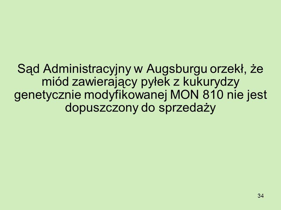 34 Sąd Administracyjny w Augsburgu orzekł, że miód zawierający pyłek z kukurydzy genetycznie modyfikowanej MON 810 nie jest dopuszczony do sprzedaży