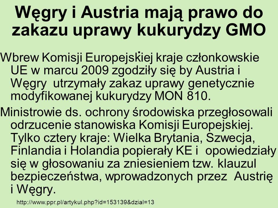 Węgry i Austria mają prawo do zakazu uprawy kukurydzy GMO. Wbrew Komisji Europejskiej kraje członkowskie UE w marcu 2009 zgodziły się by Austria i Węg