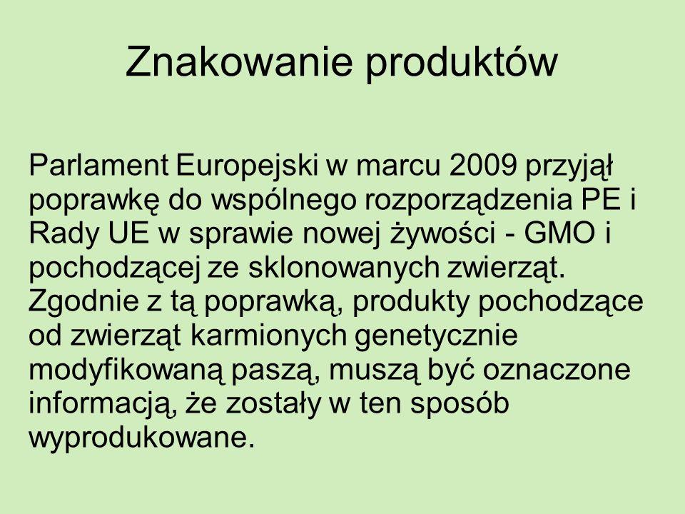 Znakowanie produktów Parlament Europejski w marcu 2009 przyjął poprawkę do wspólnego rozporządzenia PE i Rady UE w sprawie nowej żywości - GMO i pocho
