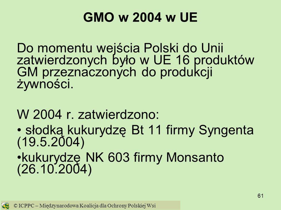 61 GMO w 2004 w UE Do momentu wejścia Polski do Unii zatwierdzonych było w UE 16 produktów GM przeznaczonych do produkcji żywności. W 2004 r. zatwierd