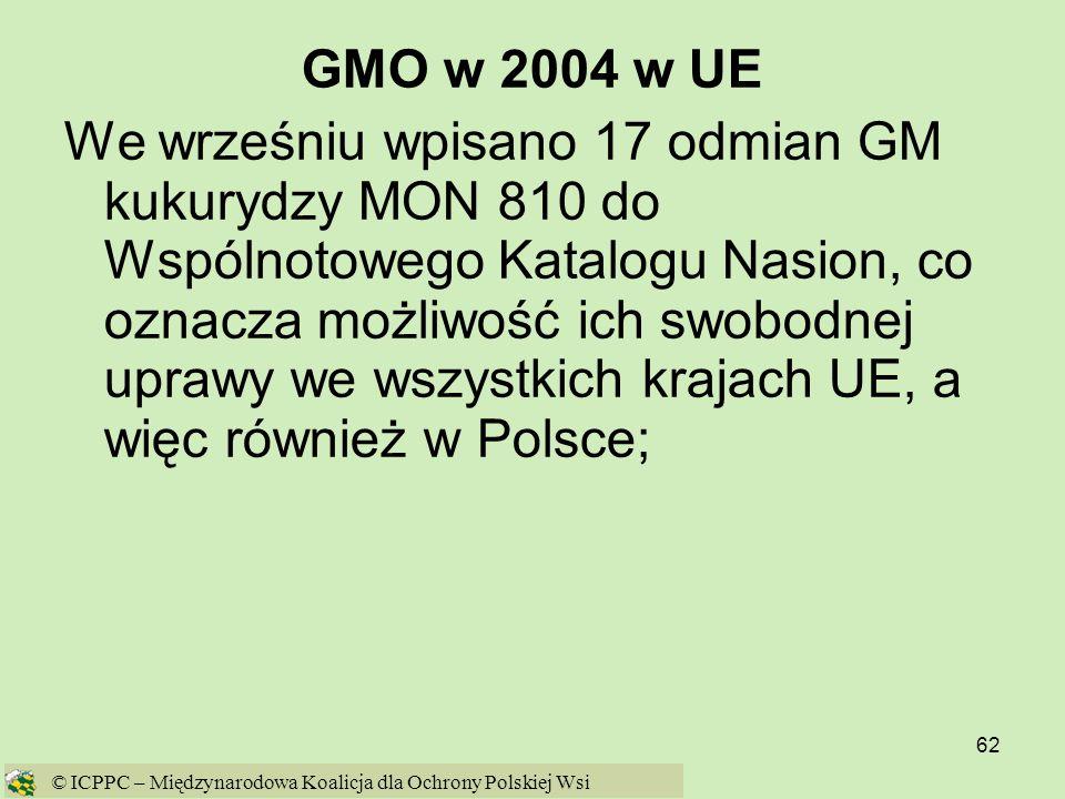 62 GMO w 2004 w UE We wrześniu wpisano 17 odmian GM kukurydzy MON 810 do Wspólnotowego Katalogu Nasion, co oznacza możliwość ich swobodnej uprawy we w